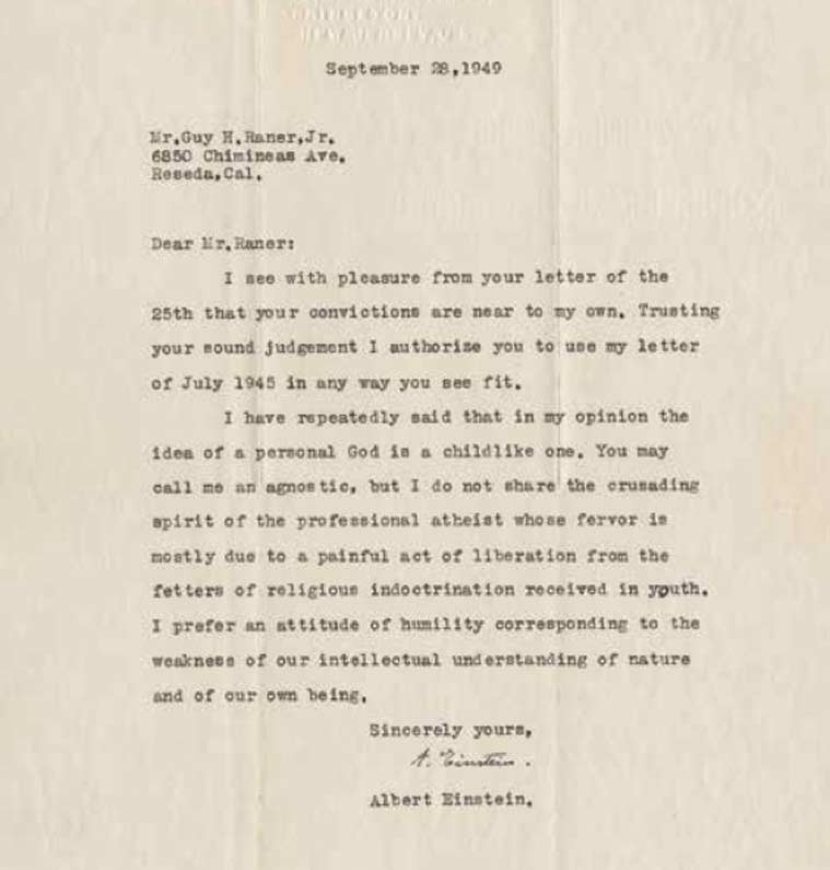 Einstein s letter to God among 27 personal letters going on auction