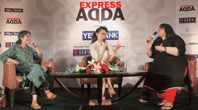 Actor Kangana Ranaut (centre), in conversation with Seema Chishti (left), Deputy Editor, The Indian Express, and Harneet Singh, Senior Editor (Films).