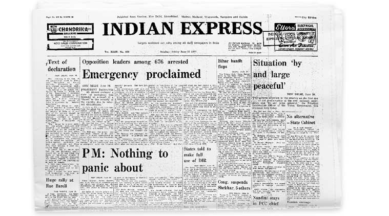 Indian Express on the day the Emergency was proclaimed.