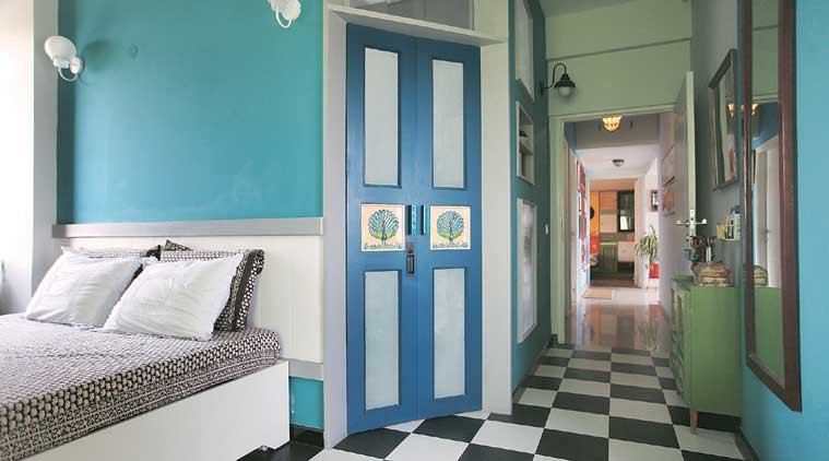 In the Greater Noida house, the master bedroom flooring was redone with chequered tiles