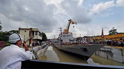 Indian Navy launches three warships in Kolkata