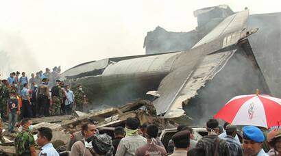 Indonesian Air Force plane crashes, 100 feared dead