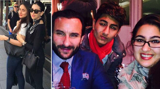 Karisma, Kareena, husband Saif and his kids Ibrahim, Sara in London
