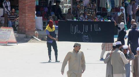 Islamic State flags waved in Srinagar after Friday prayers