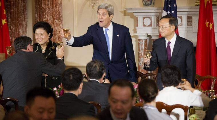John Kerry toasts with Secretary of Treasury Jack Lew, left, Chinese Vice Premier Liu Yandong, second from left, and China's State Councilor Yang Jiechi, right, during a joint banquet at the U.S.-China Security and Economic Dialogue at the State Department in Washington (AP Photo)