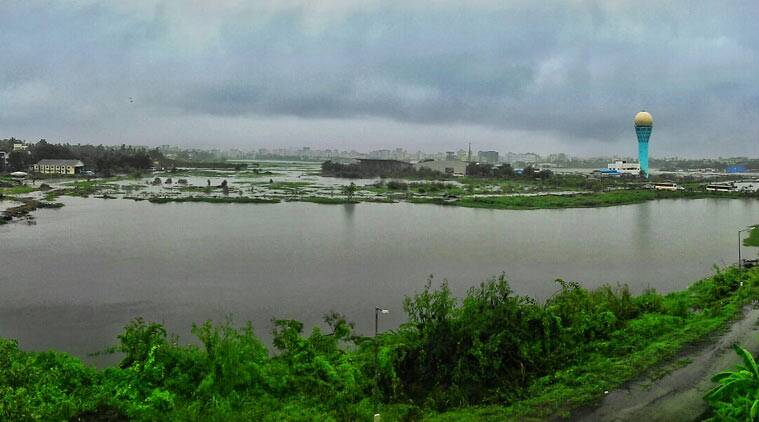 An aerial view of the flooded Juhu Airport. (Source: DK Jetley)