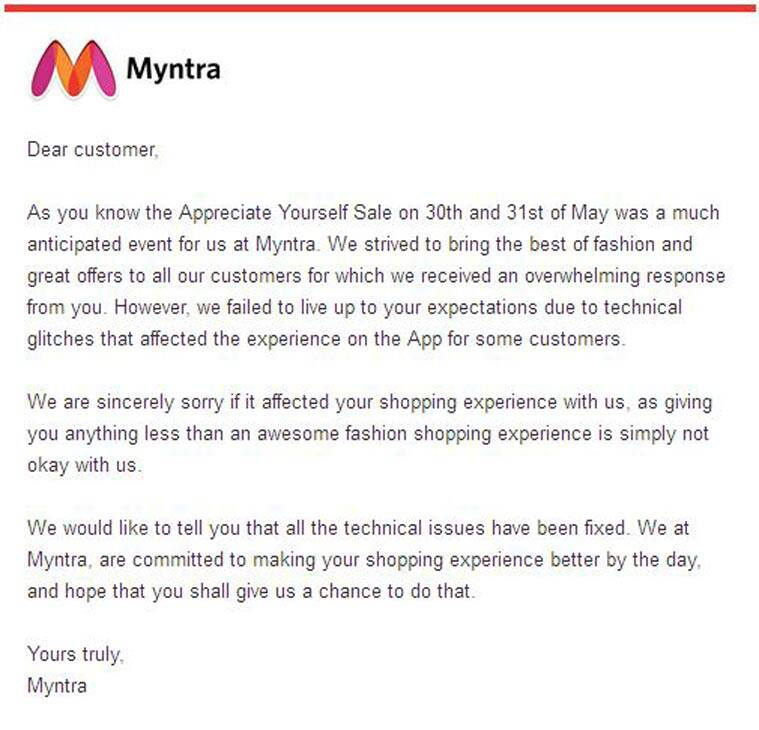 In Letter To Users Myntra Apologises For The Big App Crash