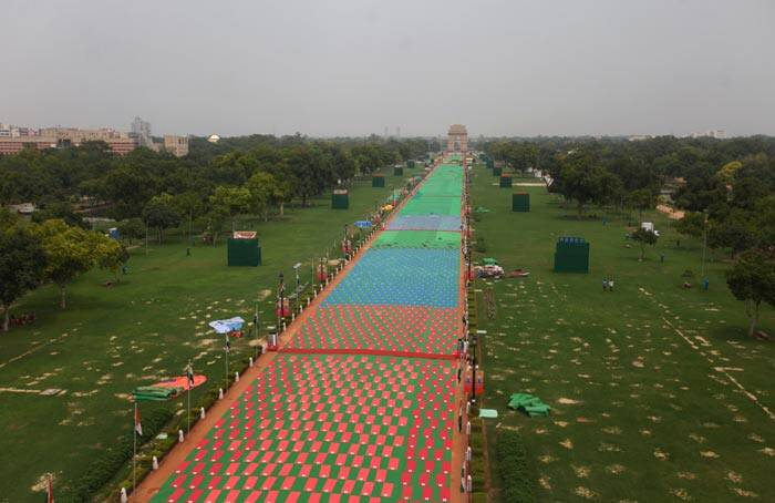 An aeriel view of the preperations on Rajpath for the coming International Day of Yoga on Thursday. (Source: Express photo by Oinam Anand)