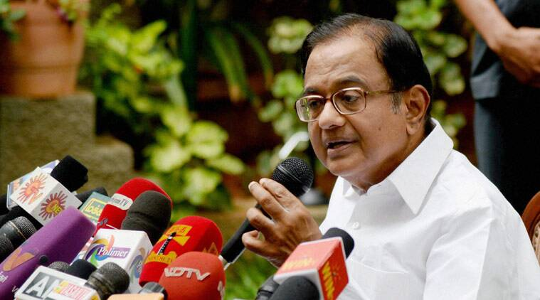 Chennai: Former Union Minister P Chidambaram addressing the media persons at his residance in Chennai on Wednesday. (Source: PTI)