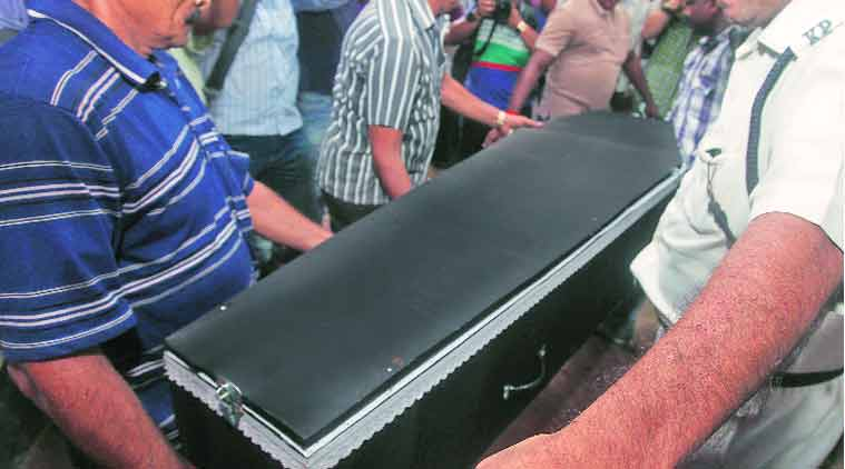 Partha De sister' s remains being taken by the police, in Kolkata on Thursday. (Express Photo by:  Partha Paul)