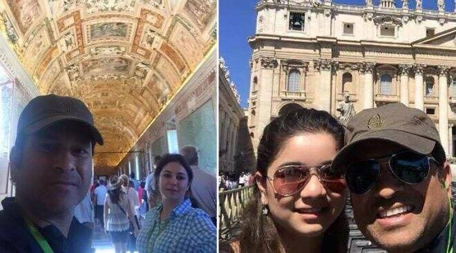 Sachin on holiday with daughter Sara, wife Anjali