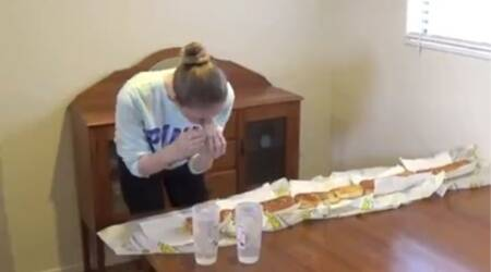 Think models eat less? Look at one eating a 5 ft long sub in under 10minutes