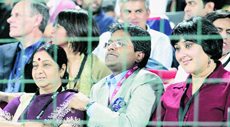 Modi with Sushma during an IPL match. (Source: Express archive photo)