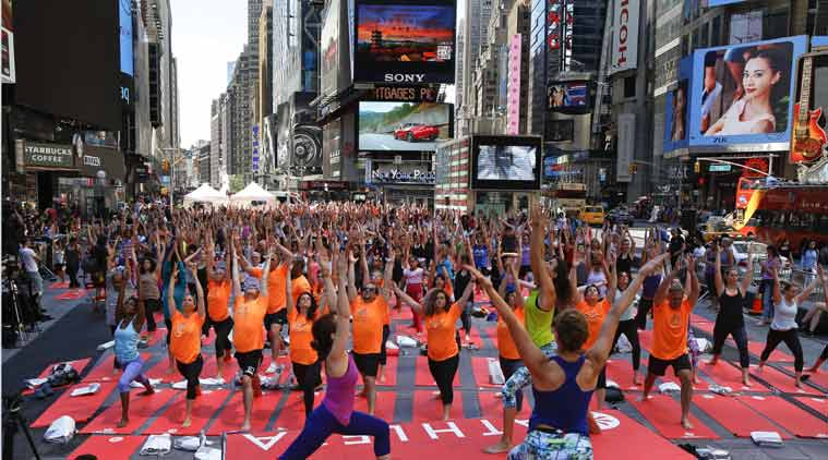International yoga day, Sushma swaraj, New York, United nations, Yoga day, Times square, New York Sushma Swaaraj, Sushma Swaraj UN,  times square yoga, yoga times square, yoga day times square, times square yoga day, yoga day new york, new york yoga day, suchma swaraj yoga day, yoga day sushma swaraj, iindia news, new york news, world news, indian express