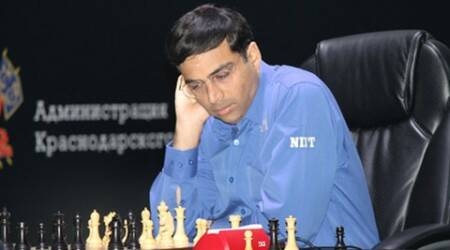Viswanathan Anand held by Fabiano Caruana in Norway