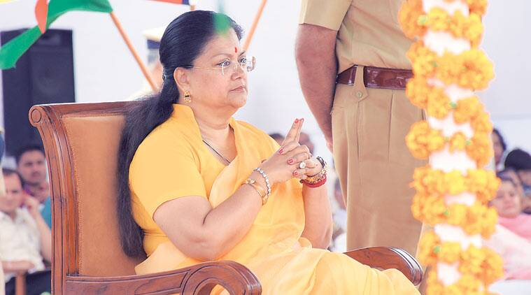 Vasundhara Raje, Rajasthan CM Vasundhara Raje, RSS, Vasundhara Raje govt, Rajasthan farmers, temple construction, Rajasthan temple demolition, RSS, Rashtriya Swayamsewak Sangh, BJP RSS, india news, rajasthan news, demolition of temples in rajasthan, demolition of temples, Indian express