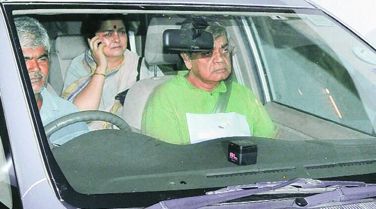 Sandip Ray and his wife Lalita leave Belle Vue Clinic in Kolkata, Tuesday. (Source: Express photo)