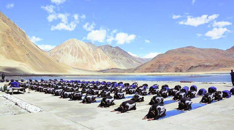 Armed forces perform in Ladakh.