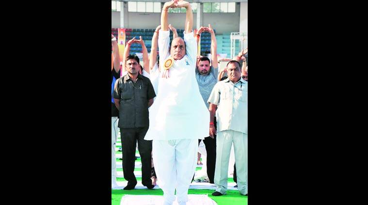 Union Home Minister Rajnath Singh participates at KD Singh Babu Stadium in Lucknow. (Source: Express photo by Pramod Adhikari)