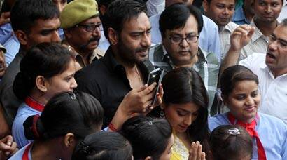 'Drishyam' actors Ajay Devgn, Shriya Saran meet fans in Lucknow