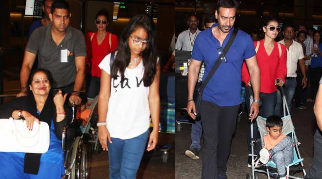 Kajol, Ajay Devgn with kids Nysa and Yug are back from London holiday