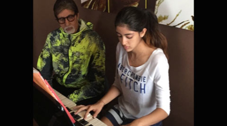 Big B impressed with granddaughter Navya Naveli's piano playing skill