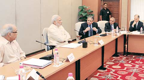 Narendra Modi, PM Narendra Modi, Modi govt, Narendra Modi govt, Modi policy stagnation, Confederation of Indian Industry, CII, CII Sumit Mazumdar, Pawan Goenka, Federation of Indian Chambers of Commerce and Industry, FICCI, Modi government, credit rating firm, Moody credit rating, Moody India rating outlook, Moody Inside India, India GDP, Prime Minister Narendra Modi, rural economy, Indian economy, Modi government, Maruti Suzuki, Indian express