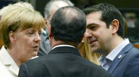 German Chancellor Angela Merkel, left, speaks with French President Francois Hollande, center, and Greek Prime Minister Alexis Tsipras during a meeting of eurozone heads of state at the EU Council building in Brussels on Sunday, July 12, 2015. (AP Photo)