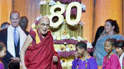 In exile, Dalai Lama turns 80