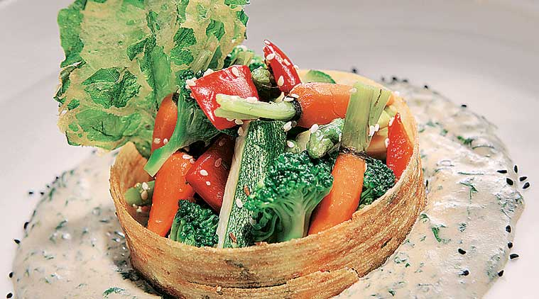 Summer veggies with a roasted sesame salan at Indian Accent