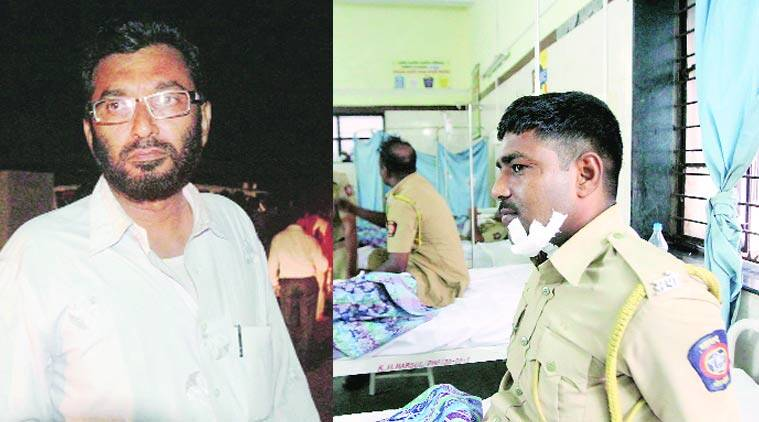 Injured constable Arun Patil in hospital (right) and Mukhtar Sayyed, whose home was ransacked Tuesday. (Source: Express photo by Deepak Joshi)