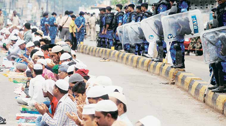Security forces in  Mango, Jamshedpur, which witnessed communal tension. (Source: Express photo by Partha Paul)