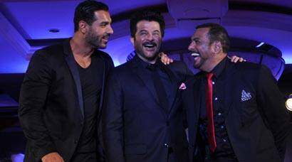 Men in black: John Abraham, Anil Kapoor, Nana Patekar at 'Welcome Back' trailer launch