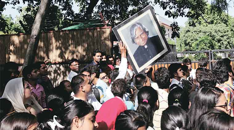Outside his 10, Rajaji Marg  residence in New Delhi on Tuesday. (Express Photo by: Ravi Kanojia)