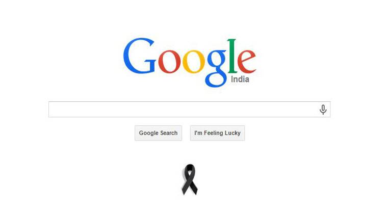 google home page design. a screenshot of the google homepage showing black ribbon tribute to apj abdul kalam home page design
