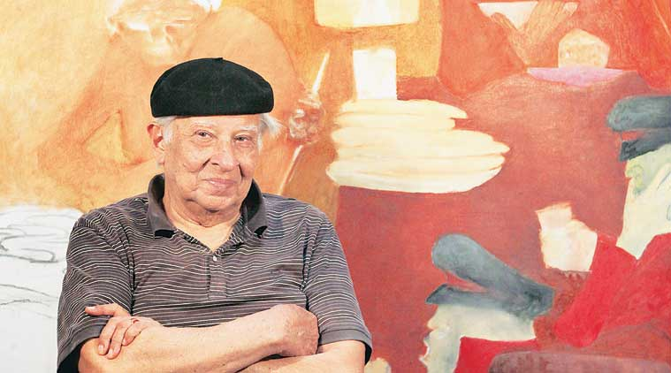 Krishen Khanna at his studio in Gurgaon. The artist works through the day, and is revisiting old themes in his new canvases