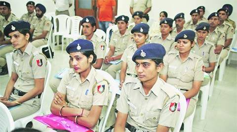 Cops at the Dr Ambedkar Institute of Hotel Management, Sector 42, where the training programme was inaugurated on Wednesday. (Source: Express photo by Sumit Malhotra)