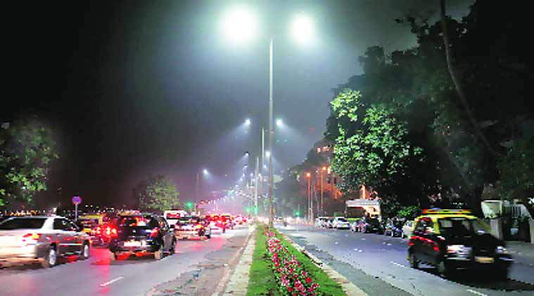 Shiv Sena, BMC, LED lights, Marine drive LED lights, white LED, yellow LED, mumbai news, city news, local news, Indian Express