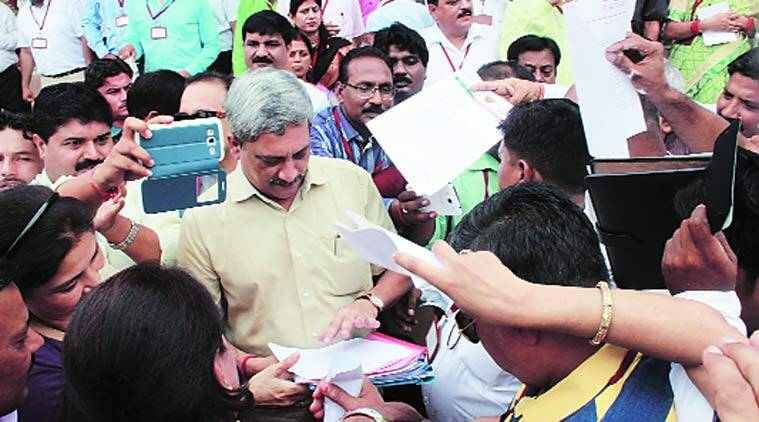 Parrikar with members of cantonment boards in Lucknow on Thursday. (express Photo by: Pramod Adhikari)