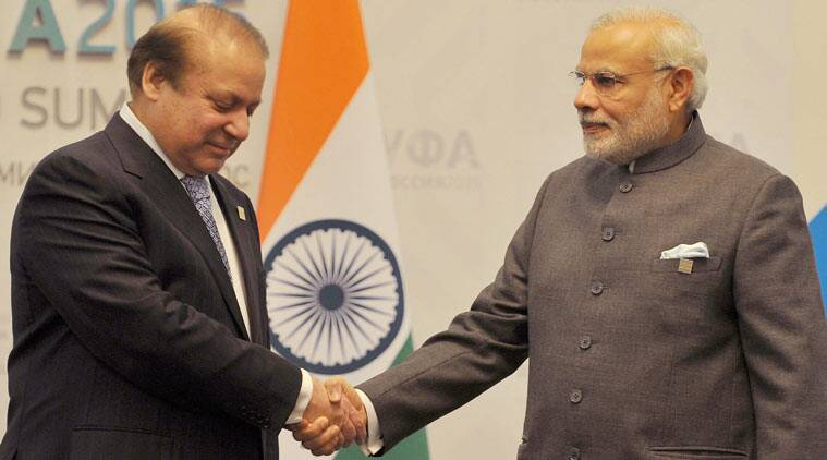 Narendra Modi, Nawaz Sharif, india, pakistan, brics, Ufa, Modi Sharif meet, Sharif Modi meet, brics summit, brics summit russia, modi at brics, modi russia, russia modi, modi sharif meeting, sharif modi meeting, modi brics, modi saarc, modi pakistan, modi news, pakistan news, india news, russia news, world news, indian express
