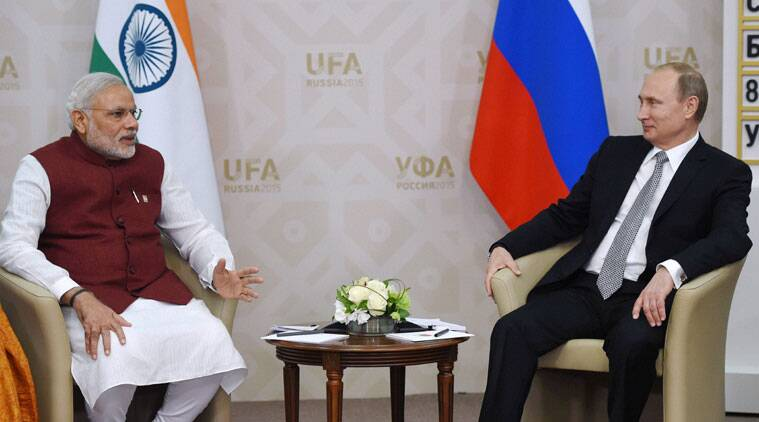 Ufa: Prime Minister Narendra Modi with Russian President Vladimir Putin during a meeting in Ufa, Russia on Wednesday. PTI Photo by Manvender Vashist