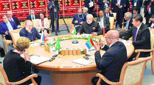 (Clockwise from centre) Prime Minister Narendra Modi, Chinese President Xi Jinping, South African President Jacob Zuma, Brazilian President Dilma Rousseff and Russian President Vladimir Putin at the 7th BRICS Summit in Ufa, Russia. (source: Reuters)