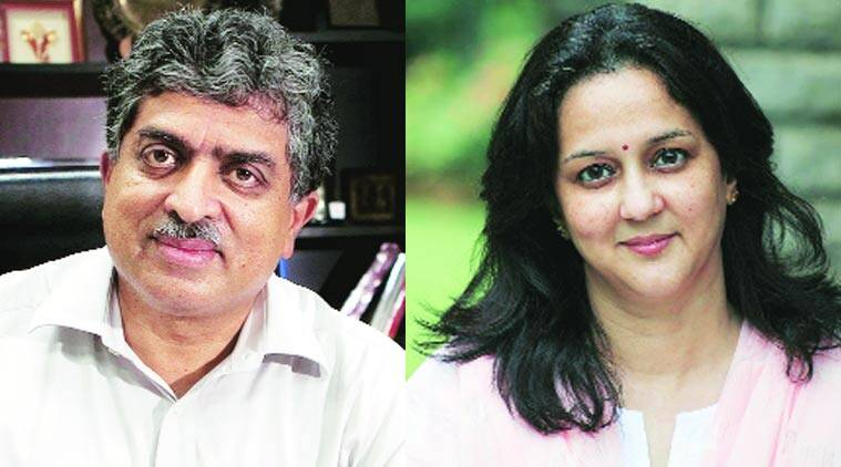 Nandan Nilekani and his wife, Rohini Nilekani.