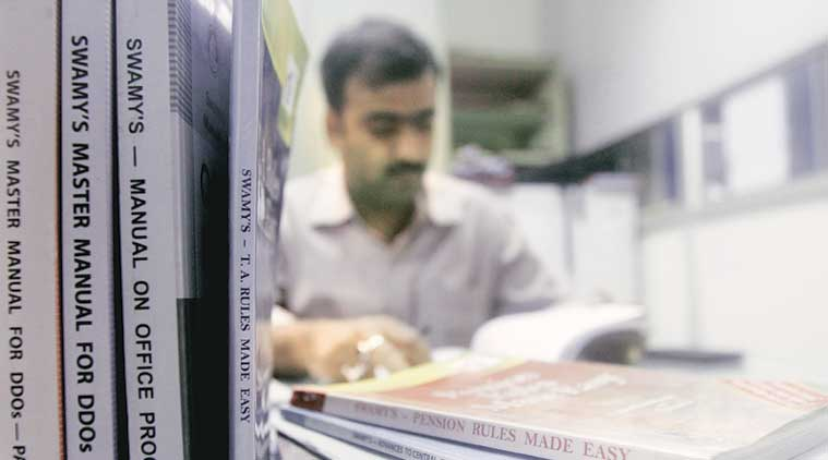 Swamy's books stacked up in the accounts office of the Indian Statistical Institute in Delhi