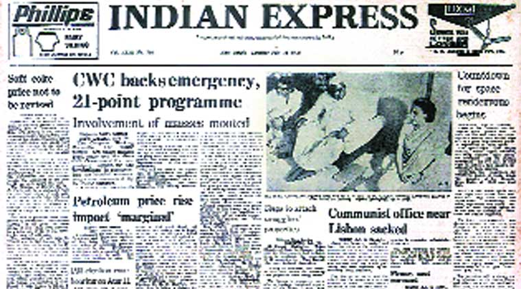 Indian express, Indian express front page