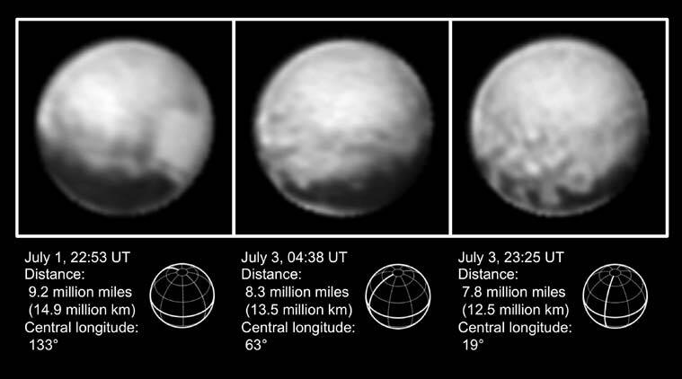 This combination of images from July 1 to July 3, 2015, provided by NASA shows Pluto at different distances from the New Horizons spacecraft. (Source:AP)