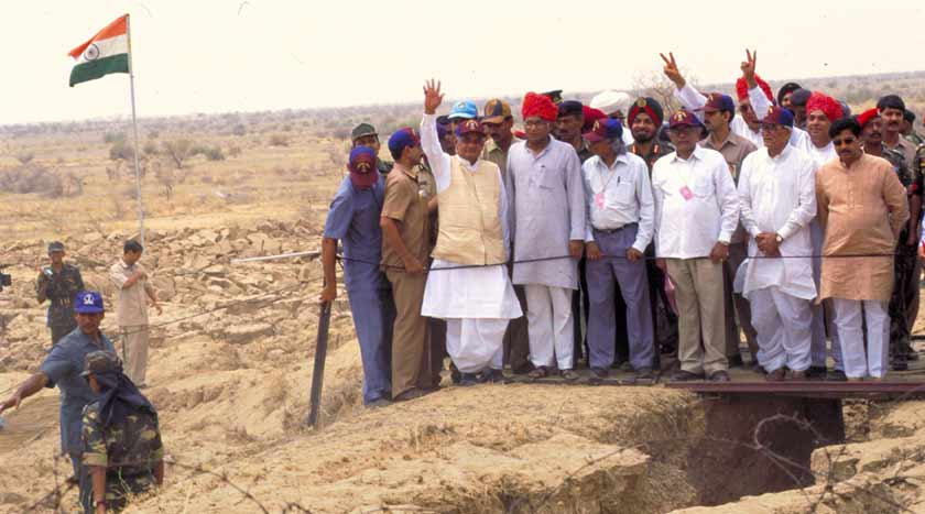 PM Atal Bihari Vajpayee at the test site in Pokhran