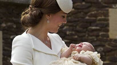 Kate Middleton, Prince William, Prince George at Princess Charlotte christening