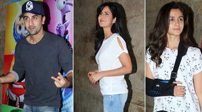 Lovebirds Ranbir Kapoor, Katrina Kaif watch 'Inside Out' with Alia, Arjun