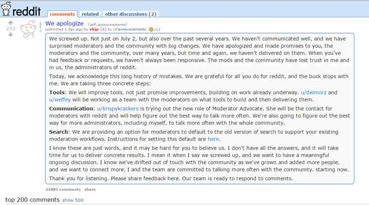 Reddit apologises, even as petition to remove CEO Ellen Pao